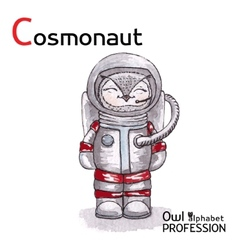 Alphabet professions Owl Letter C - Cosmonaut vector image