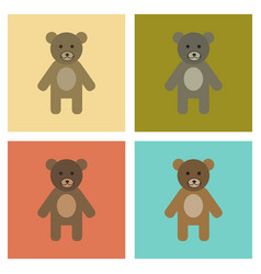 Assembly flat icons nature cartoon bear vector