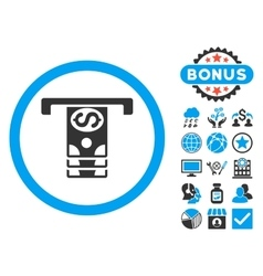 Banknotes withdraw flat icon with bonus vector