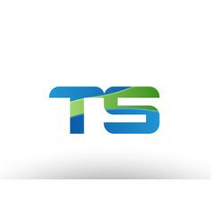 blue green ts t s alphabet letter logo vector image