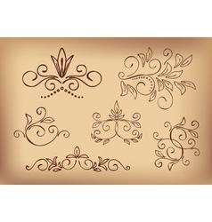 brown floral design elements - set vector image