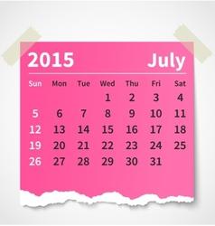 Calendar july 2015 colorful torn paper vector
