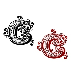 Capital letter c with curly elements vector