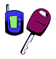 car key with a remote control icon cartoon vector image