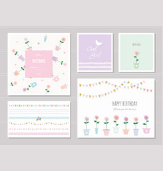 Cute cards for girls can be used for baby shower vector