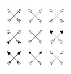 decorative bow arrows vector image vector image