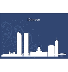 Denver city skyline on blue background vector