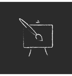 Easel and paint brush icon drawn in chalk vector