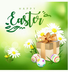easter card with gift box eggs and flowers vector image vector image