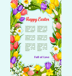 Easter flowers bunch wreath greeting poster vector