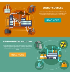 Energy sources and environmental pollution banner vector