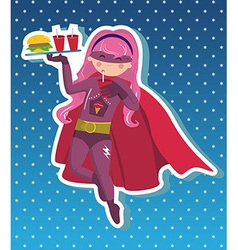 Fast food superhero girl cartoon vector