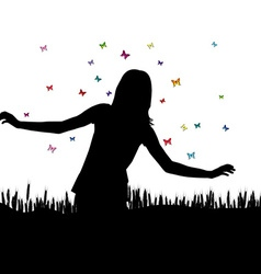 Girl playing with butterflies vector