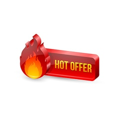 Glossy hot offer icon and button vector image