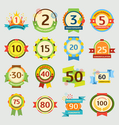 Happy birthday badges set anniversary card vector