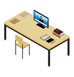 isometric working place vector image vector image