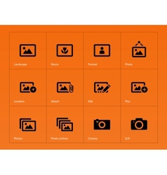 Photographs and Camera icons on orange background vector image vector image