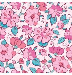 pink blue kimono flowers seamless pattern vector image