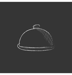 Restaurant cloche drawn in chalk icon vector