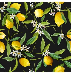 Seamless Pattern Lemon Fruits Background vector image