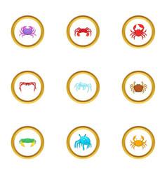 Shellfish icons set cartoon style vector
