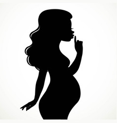 Silhouette of beautiful young pregnant woman put a vector