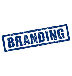 Square grunge blue branding stamp vector