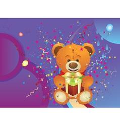 Teddy bear with gift box4 vector