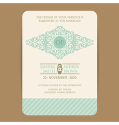 wedding invitation with vintage element vector image vector image