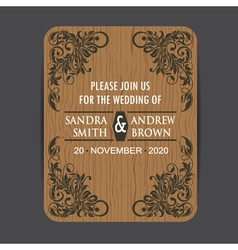 Wooden wedding invitation vector