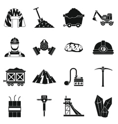 Miner icons set simple style vector
