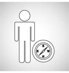 Compass locate destination icon silhouette man vector