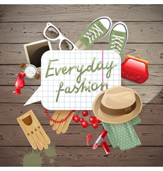 wooden background with fashion elements vector image