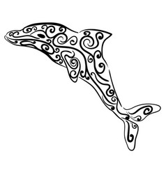 dolphin decorative ornament animal sketch vector image