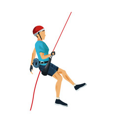 Young male climber hanging on a rope and looking vector