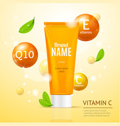 Creame tube moisturizing cosmetic products ad vector