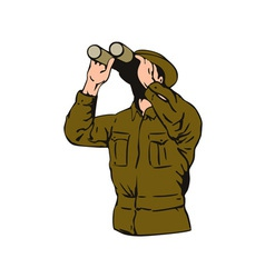 Man looking binoculars vector