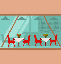 cozy summer terrace of cafe with delicious food vector image