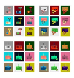 Flat assembly icons of set gifts and discounts vector