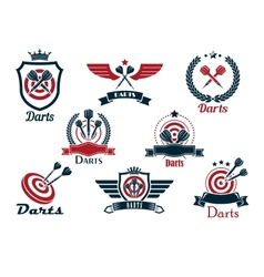 Darts heraldic sports emblems and symbols vector