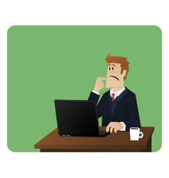 Business man thinking behind computer desk vector