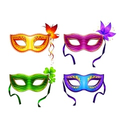 Colorful carnival masks set vector image