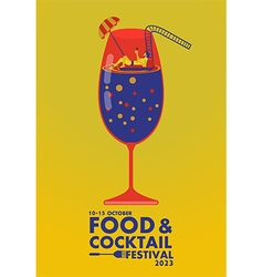 Food and cocktail festival poster relax concept vector