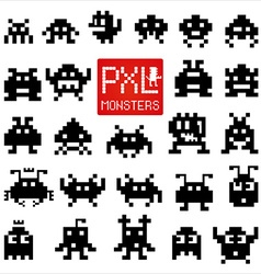 Set of cheerful pixel monsters vector