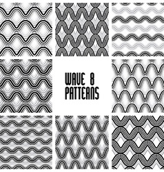 Waves black and white seamless patterns set vector
