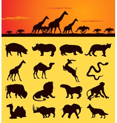 African animal silhouettes vector