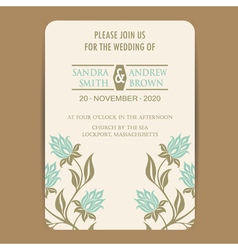 Wedding invitation with vintage flowers vector