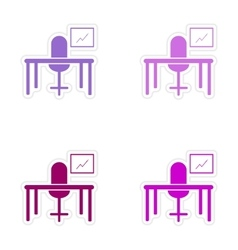 Stylish assembly sticker on paper table chair vector