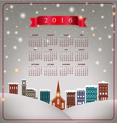 A 2016 quaint christmas village calendar vector