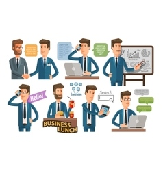 businessman and business icons set vector image
